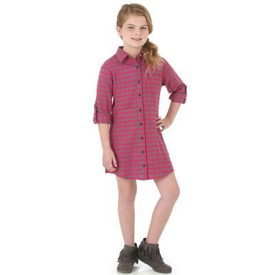 Wrangler Girl's Pink Plaid Dress