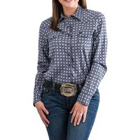 Cinch Women's Blue Geometric Print Snap Shirt