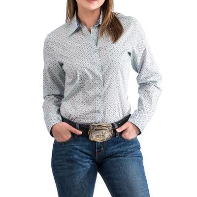 Cinch Women's Light Blue Geometric Print Shirt