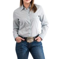 Cinch Women's Light Blue Geometric Print Shirt