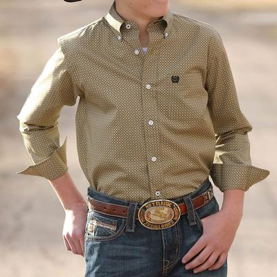 Cinch Boy's Khaki Geometric Print Shirt