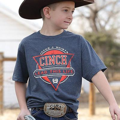 Cinch Boy's Heathered Blue Lead This Life T- Shirt