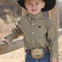Cinch Toddler Boy's Khaki Geometric Print Shirt