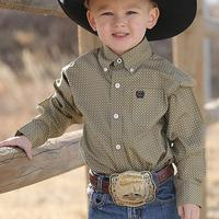 Cinch Infant Boy's Khaki Geometric Print Shirt