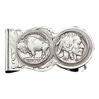 Montana Silversmiths's Buffalo Indian Nickel Scalloped Money Clip