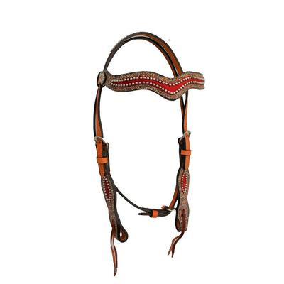 Alamo Saddlery Wave Headstall With Multi- Zag And Red Elephant Overlays