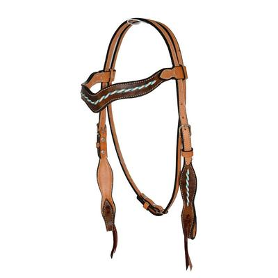 Alamo Saddlery Wave Headstall With Marble Overlay And Rawhide Trim