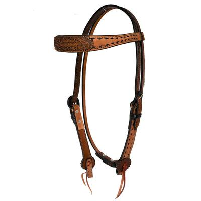 Alamo Saddlery Contoured Browband Buckstitched Headstall