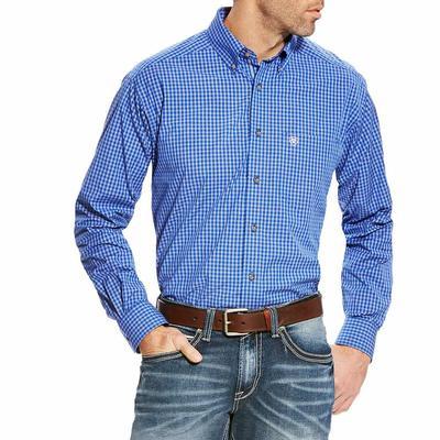 Ariat Men's Pro Series Barado Vibrant Blue Plaid Shirt