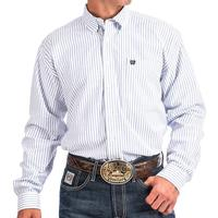 Cinch Men's Blue And White Striped Oxford Shirt