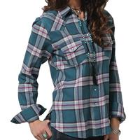 Cruel Girl Women's Teal And Purple Plaid Snap Shirt