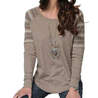 Cruel Girl Women's Heathered Brown With Contrast Sleeve Top