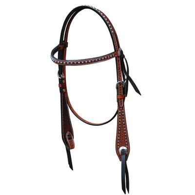 Bar H Equine Classic Basketweave Browband Headstall