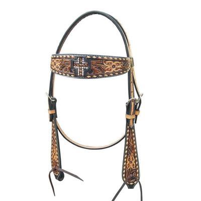 Bar H Equine Topaz Crystal Cross Browband Headstall