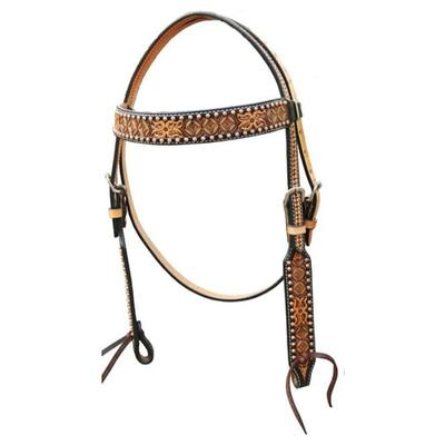 Bar H Equine Floral Tooled Browband Headstall With Copper Spots