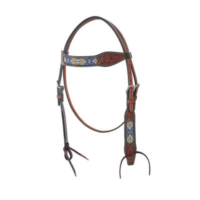 Bar H Equine Aztec Gold Browband Headstall With Beadwork Trim