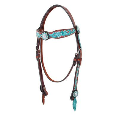 Bar H Equine Hand Painted Turquoise & Coral Browband Headstall