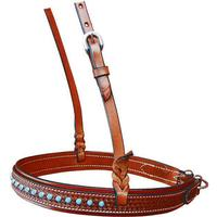 Bar H Equine Chestnut Leather Noseband with Snowflake Tooling and Dots