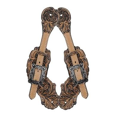Bar H Equine Floral Tooled Spur Straps With Antique Finish