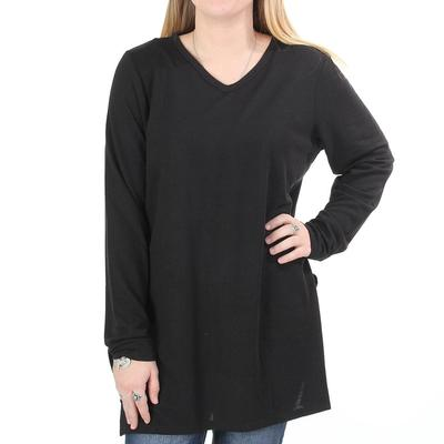 Anne French Women's Side Slit Hi-Low Tunic Sweater BLK