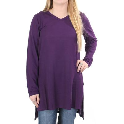 Anne French Women's Side Slit Hi-Low Tunic Sweater GRAPE