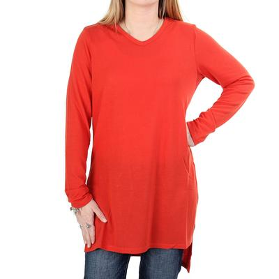Anne French Women's Side Slit Hi-Low Tunic Sweater SPICE