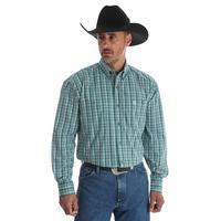 Wrangler Men's Green And White George Strait Shirt