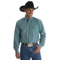 Wrangler Men's Green And Blue Plaid George Strait Shirt