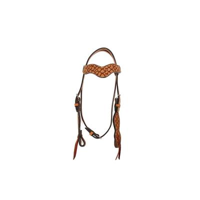 Alamo Saddlery Wave Browband Headstall With Cognac Overlay