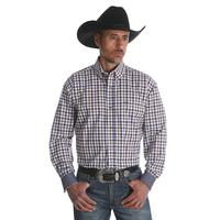 Wrangler Men's 20X Advanced Comfort Competition Rustic Blue Plaid Shirt