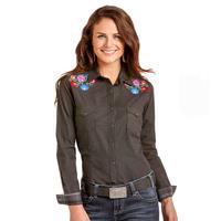 Panhandle Women's Floral Embroidered Black Shirt