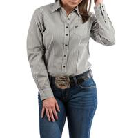 Cinch Women's Olive Gray And White Striped Shirt