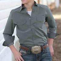 Cinch Boy's Gray And Teal Snap Shirt