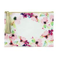 Mary Square's Pink Floral Tassel Zippered Pouch