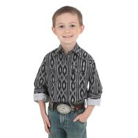 Wrangler Boy's Black and White Serape Shirt