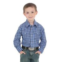 Wrangler Boy's Blue Wrinkle Resistant Plaid Shirt
