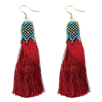 Bead And Thread Tassel Earring