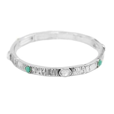 Antique Silver And Turquoise Bangle Bracelet