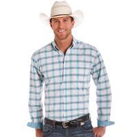 Panhandle Slim Men's White and Turquoise Plaid Shirt