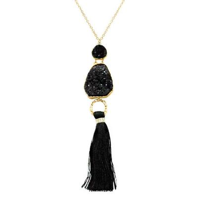 Black Druzy Tassel Necklace