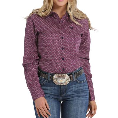 Cinch Women's Purple And Lime Geometric Print Shirt