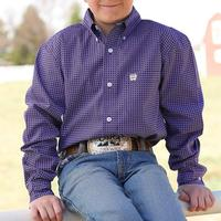 Cinch Boy's Purple Print Long Sleeve Shirt