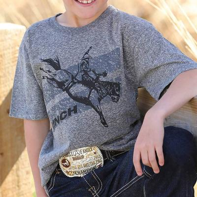 Cinch Boy's Heather Grey Bucking Bronco T- Shirt