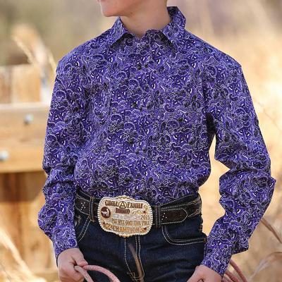 Cinch Boy's Purple Paisley Snap Shirt
