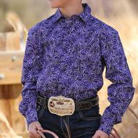 Cinch Boy's Purple Paisley Snap Shirt
