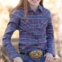 Cruel Girl Girl's Purple Southwestern Snap Shirt