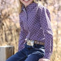 Cruel Girl Girl's Purple Geometric Snap Shirt