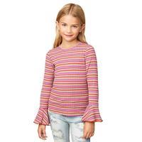 Hayden Girl's Striped Bell Sleeve Top