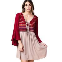 Kori America Women's Embroidered Flare Sleeve Dress