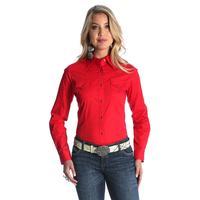 Wrangler Women's Red Long Sleeve Embroidered Shirt